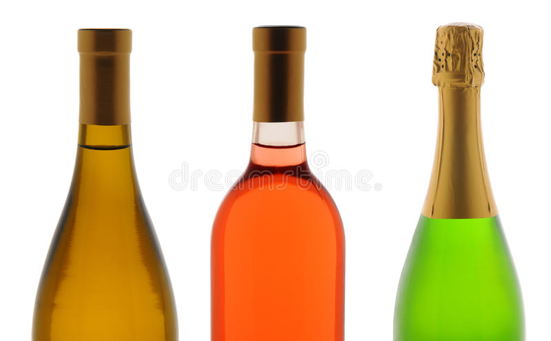 Close-up Drie WineBottles royalty-vrije stock afbeelding