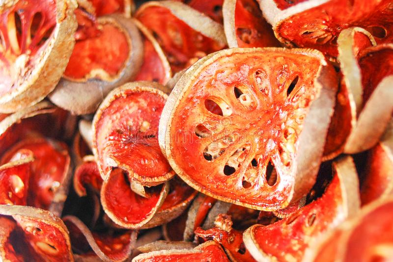 Dried bael sliced fruit stock photography