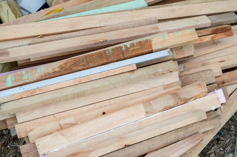 Dry plywood on the ground stock image