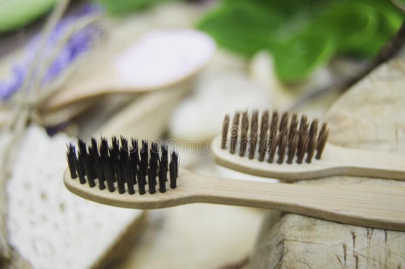 Close up -eco friendly natural bamboo toothbrush place on wooden plates, concept reduce use plastic for Sustainable health.  royalty free stock image