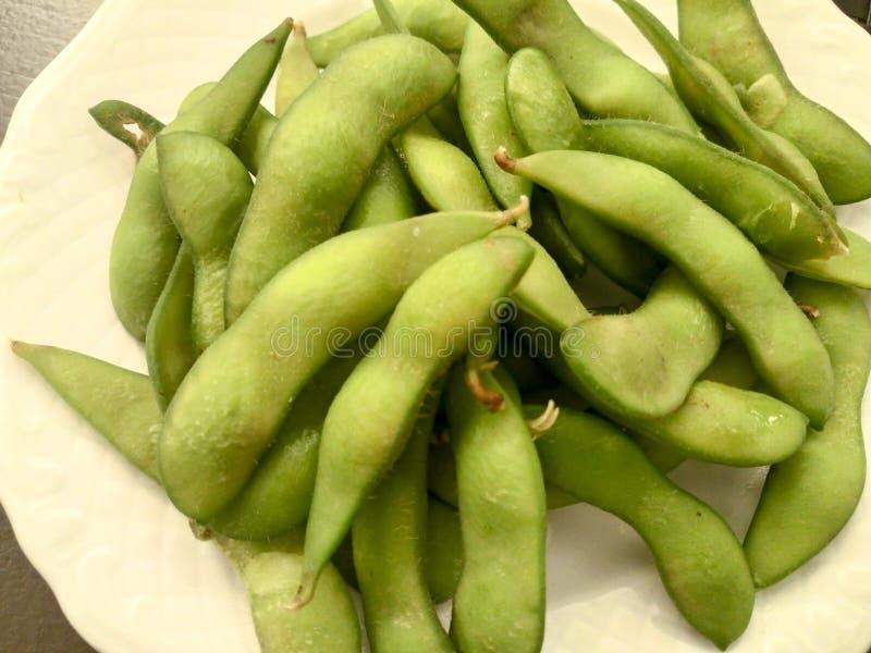 Close up of Edamame soy beans stock image
