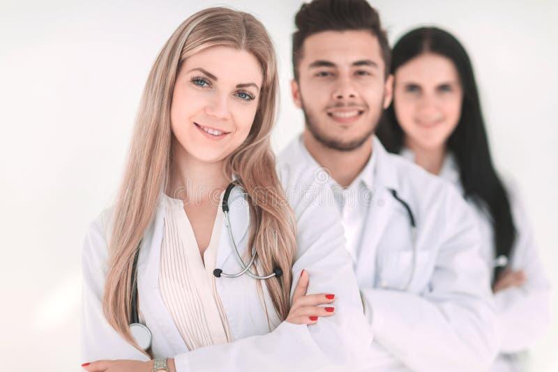 Close-up, een groep medische artsen die zich verenigen stock afbeelding