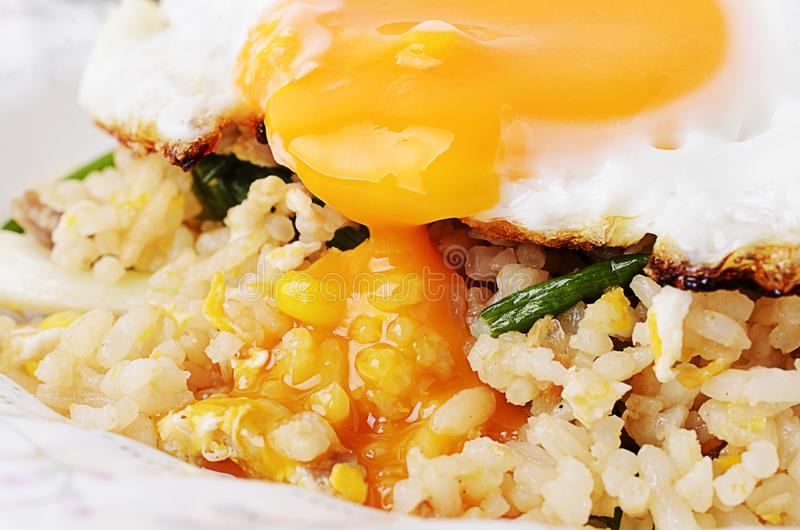 Close up of Egg yolks with fried rice to eat royalty free stock images
