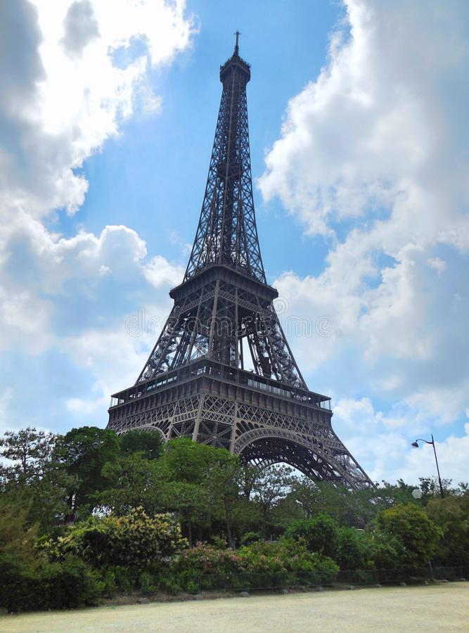 Close up of the Eiffel Tower stock photo