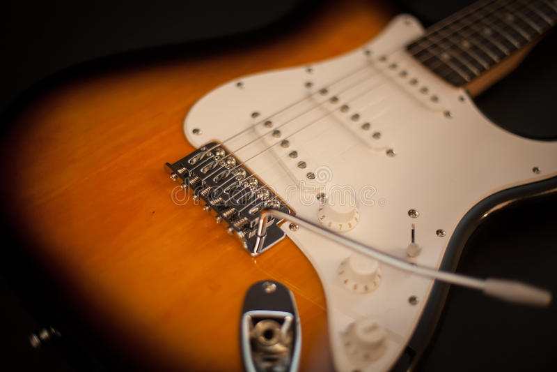 Close up of electric guitar. Selective focus stock photo