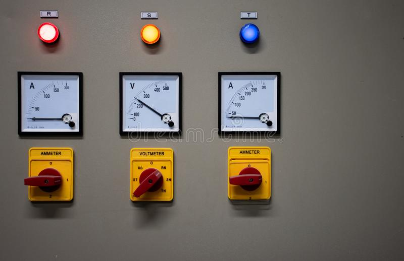 Close up Electrical control cabinet stock image