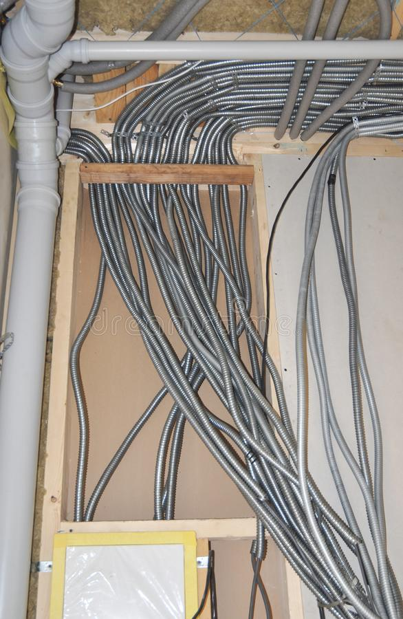 Electrical Wiring. Electric Wire Installation In House. Stock Image ...