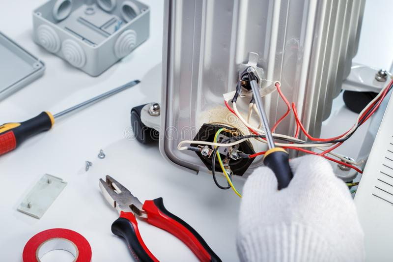 Close-Up Of Electrician Work. Repair stock photo