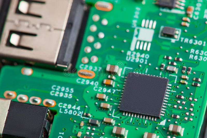 Close up of electronic components on the motherboard, microprocessor chip stock photo