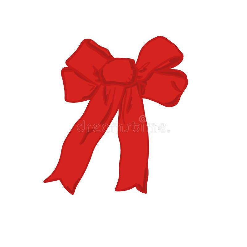 Close-up elegante brilhante vermelho da curva em um fundo branco Objeto isolado ilustração royalty free