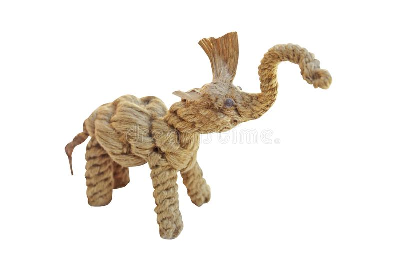 Elephant made from old rope ,local toys,handmade on white background royalty free stock image