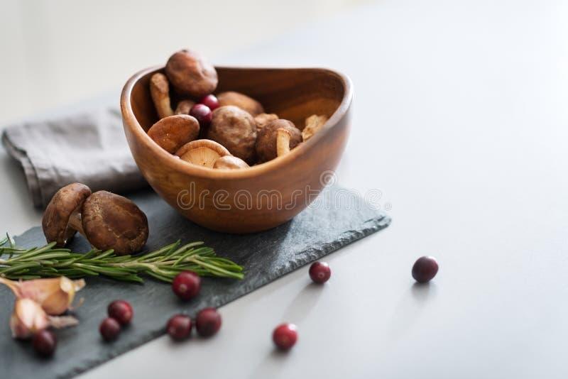 Close up em lingonberries e em rosmarinus dos cogumelos foto de stock