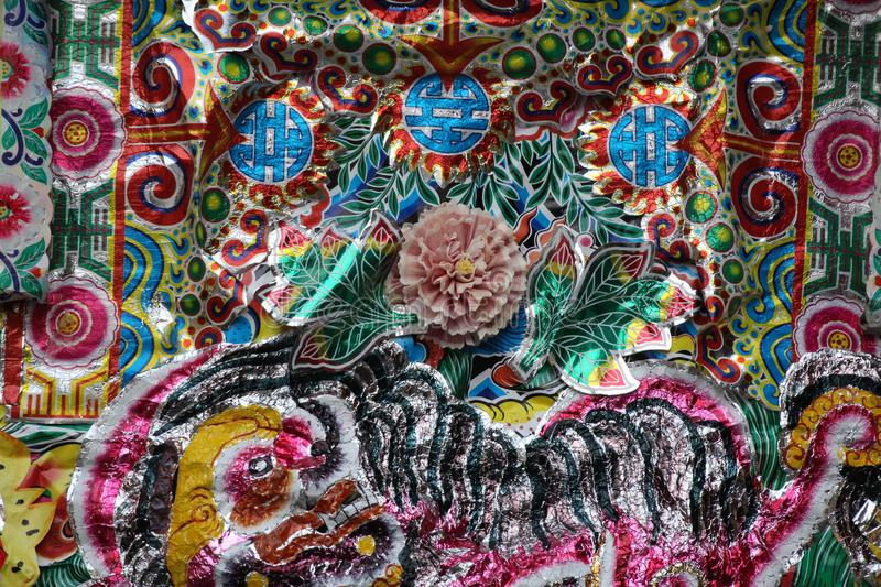 Chinese Ornament on Fabric. Close up the embroided Beads on fabric in Chinese pattern stock photos