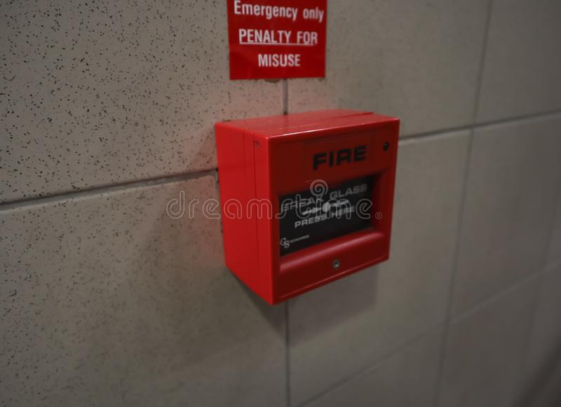 The close up of emergency red fire alarm royalty free stock photography