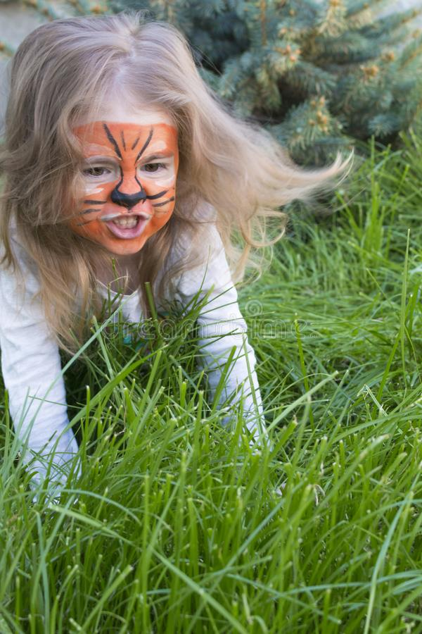 Close-up emotional portrait of a little girl with tiger aqua makeup. baby growls like a tiger stock photo