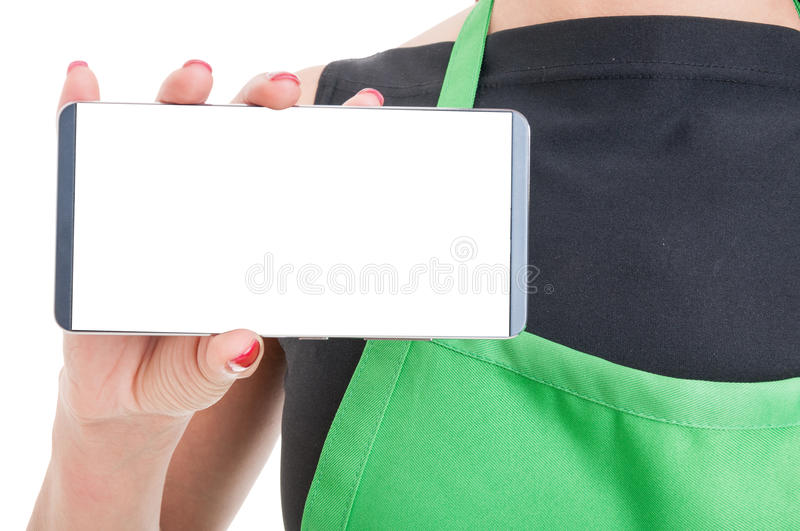 Close-up of employee hand with modern cellphone royalty free stock photos