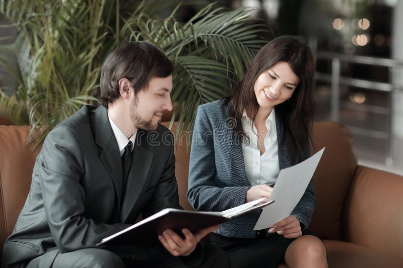 Close up. employees of the company discussing financial documents. royalty free stock photography