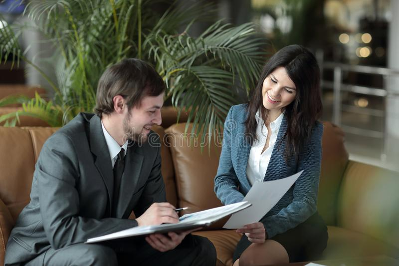 Close up. employees of the company discussing financial documents. royalty free stock photo