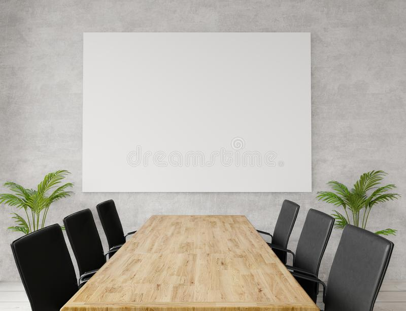 Close up empty meeting room with chairs, wooden table, concrete wall for copy space and mock up. Close up empty meeting room with chairs, wooden table, concrete royalty free illustration