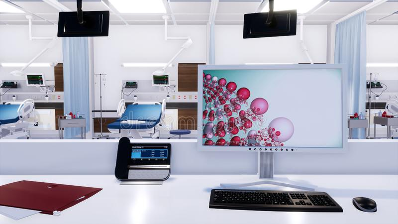 Close-up of empty nurses station in emergency room. Close-up of empty nurses station workplace with computer screen and phone in emergency room of modern clinic stock illustration