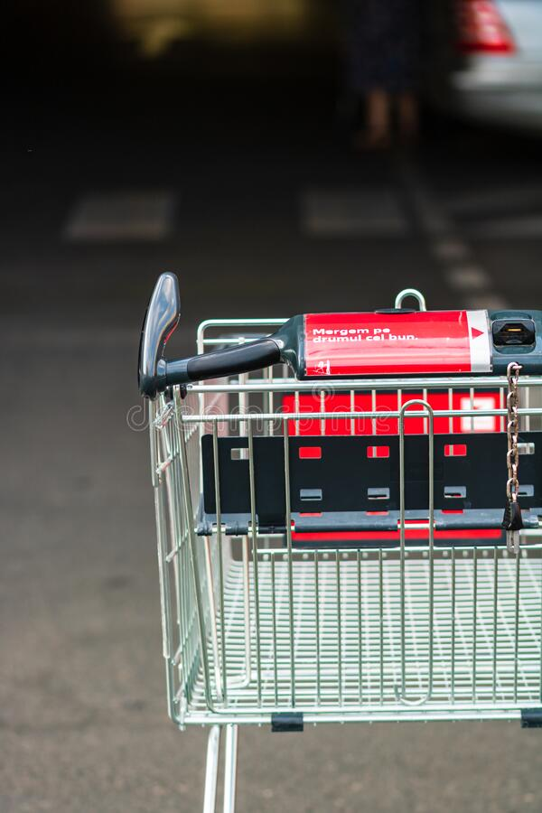 Close up of empty shopping cart isolated in Bucharest, Romania, 2020 stock photography