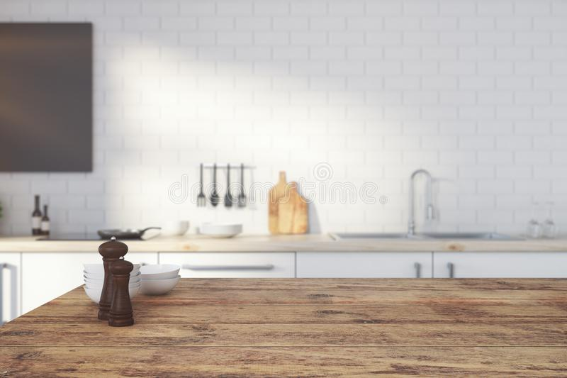 Empty wooden kitchen counter. Close up of empty wooden kitchen counter on blurry interior background. Copy space, 3D Rendering stock illustration