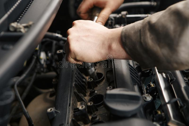 Close-up of the engine of a bus, a truck after a car wash stock photography