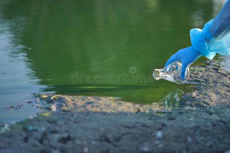 Close-up environmentalist hand of a researcher in a process of taking a sample of contaminated water from a lake royalty free stock photos