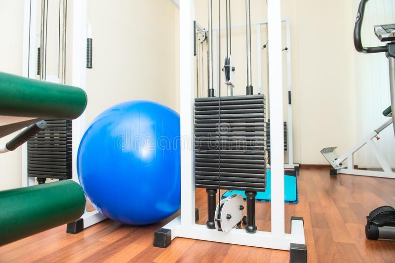 Close up equipment for rehabilitation in interior of physiotherapy clinic. Physical therapy center. Selective focus, copy space stock photo