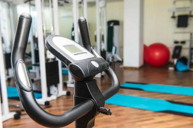 Close up equipment for rehabilitation in interior of physiotherapy clinic. Physical therapy center. Selective focus, copy space stock photography