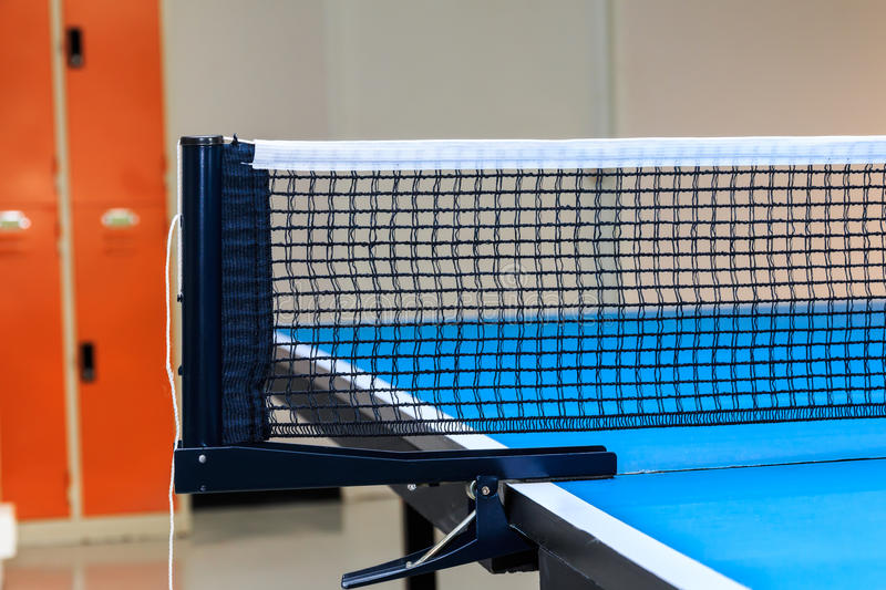 Close up of equipment for Table Tennis with locker backgound stock photos