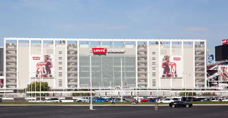 Close up 49'ers Levi's Stadium San Jose. Ready for the inagural season to begin the newest football stadium in the US is ready to host games in a hi tech and stock image