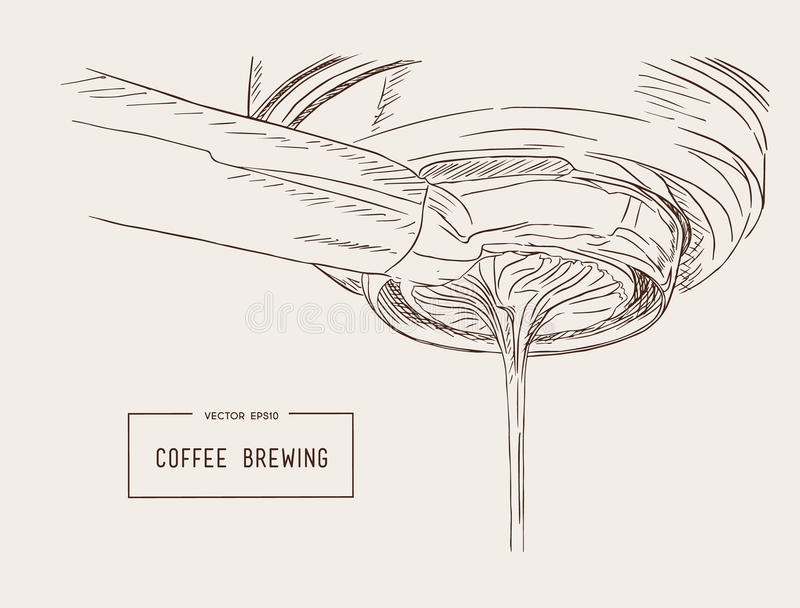 Close-up of espresso pouring from coffee machine. Professional. Coffee brewing sketch vector royalty free illustration