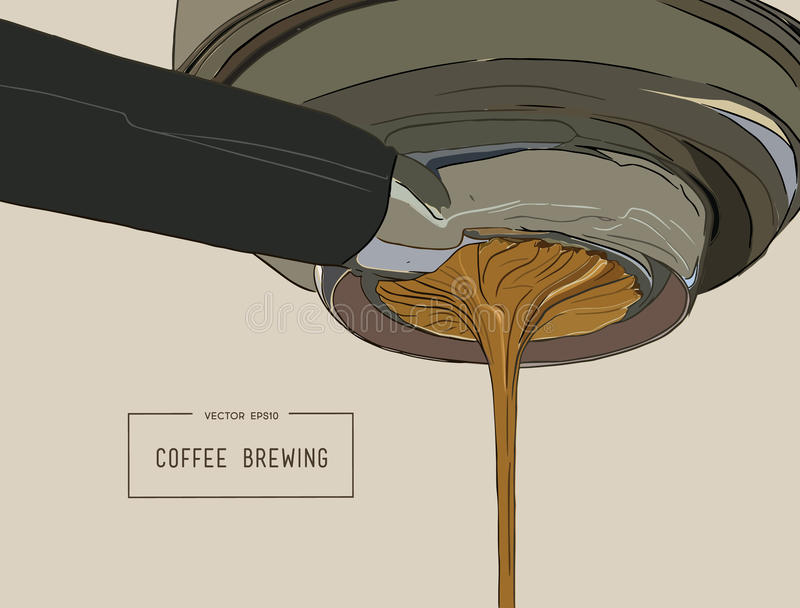 Close-up of espresso pouring from coffee machine. Professional c. Offee brewing sketch vector vector illustration