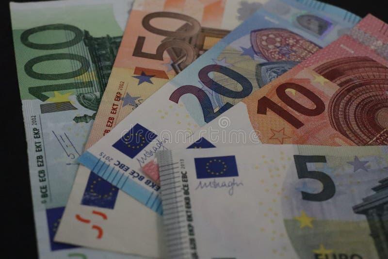 Close up of EURO banknotes 免版税库存图片