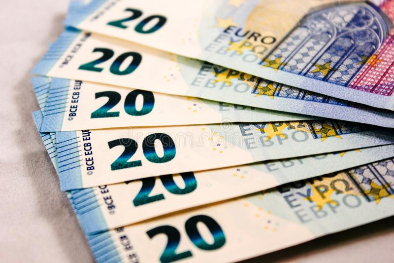 Close up of 20 Euro cash notes stock photo