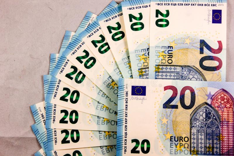 Close up of 20 Euro cash notes stock images
