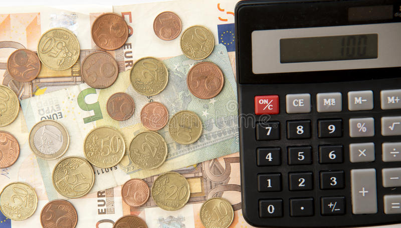 Download Close Up Of Euro Currency. Coins, Banknotes And Calculator Stock Photo - Image of economy, business: 77260694