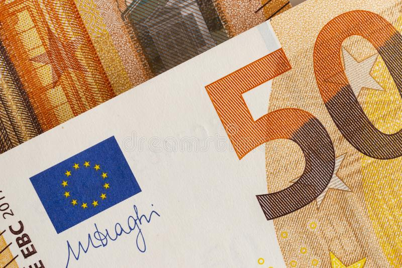 Close-up of european currency - bills of 50 euro. royalty free stock photos