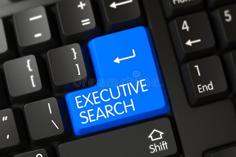 Close up executivo da busca do botão azul do teclado 3d fotografia de stock