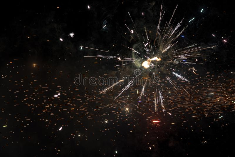 Close up of exploding fireworks stock image