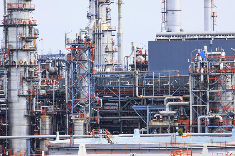 Close up exterior stromg metal structure of oil refinery plant i royalty free stock images