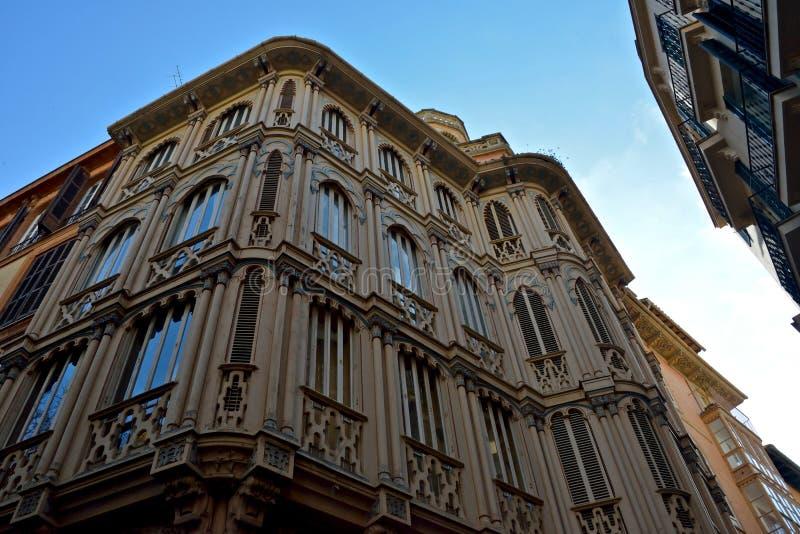Close up of an external spanish building in Palma de Mallorca stock image