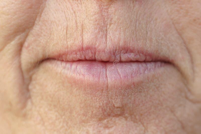 Close up extremo na boca de uma mulher de meia idade foto de stock royalty free