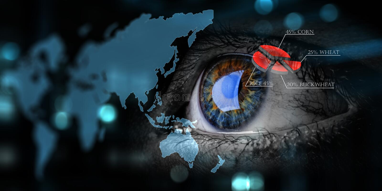 Abstract high tech eye concept. Close up of eye with business diagram and world map in the foreground stock photo