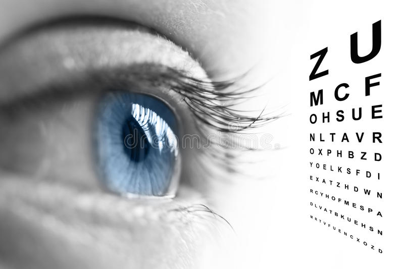 Close up of eye and vision test chart. Close up of an eye and vision test chart vector illustration