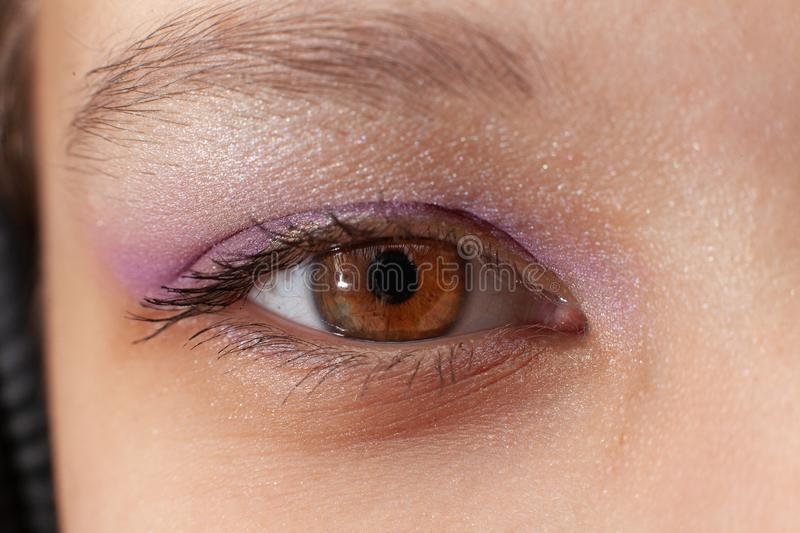 Close up of woman`s eye with makeup stock image