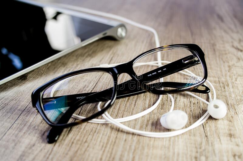 Close-up of Eyeglasses on Table royalty free stock photo