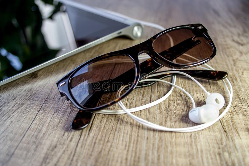 Close-up of Eyeglasses on Table royalty free stock image