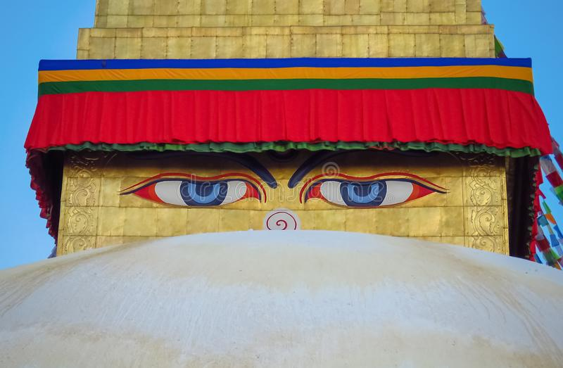 Close up of eyes at Boudhanath stupa, Kathmandu, Nepal. Close up of painted eyes at Boudhanath stupa, watching over everybody, Kathmandu, Nepal stock photography